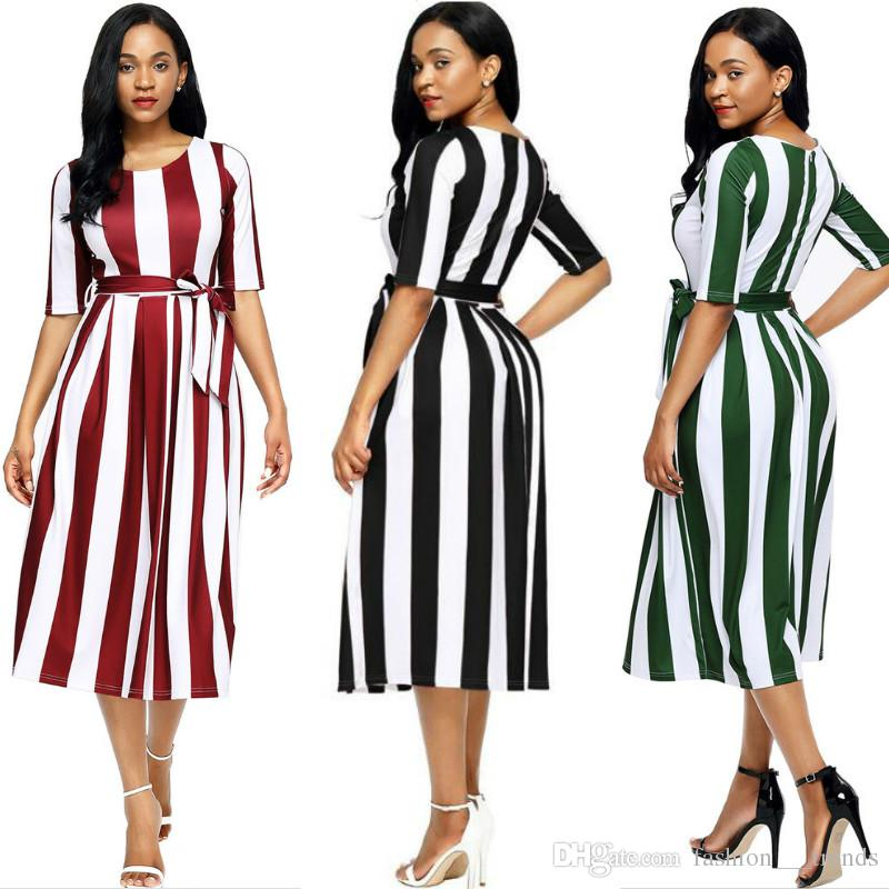 02c1491b8be Sexy Elegant Women Summer Dress Casual Striped O Neck Half Sleeve Dress Slim  Belted Office Work Formal Dress Circus Christmas Party Sundress Short  Cocktail ...