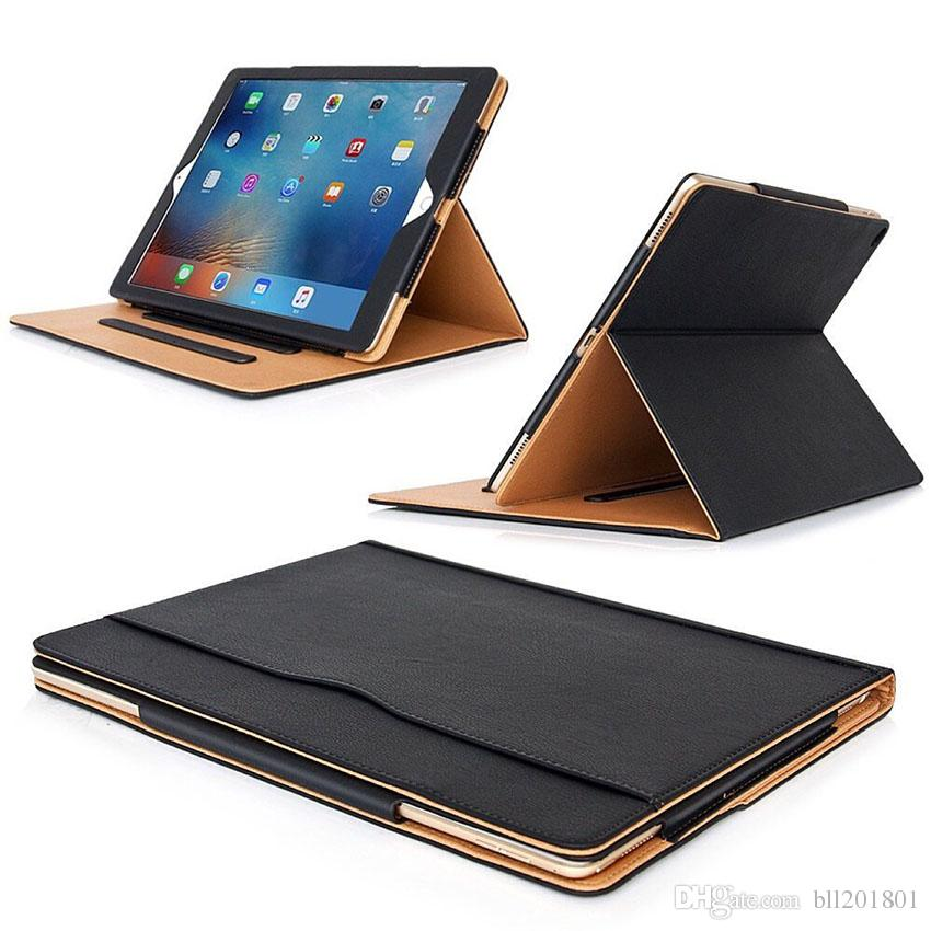 Luxury Tan Soft Leather Wallet Stand Flip Case Smart Cover for New iPad 9.7 2017 2018 Air 2 3 4 5 6 7 Air2 Pro 10.5 Mini Air2 Mini 4 60X DHL