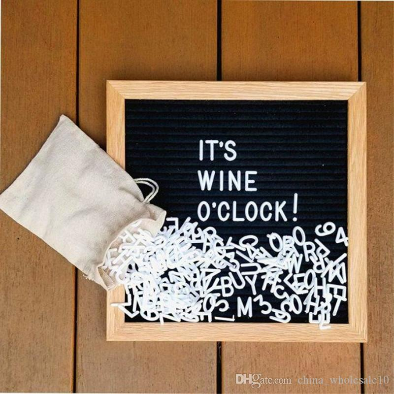 Office & School Supplies Felt Letter Message Board Oak Frame White Letters Symbols Numbers Characters Bag