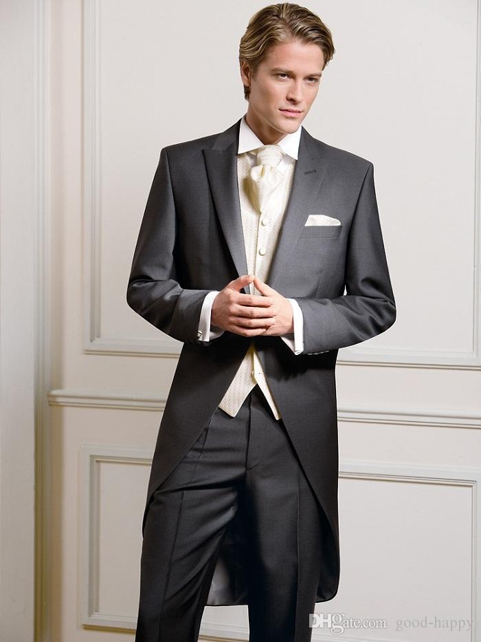 Оптовая продажа-Лучший дизайн остроконечные отворотом уголь фрак мужчины партия женихи костюмы в свадебные смокинги куртка + брюки + галстук + жилет нет; 293