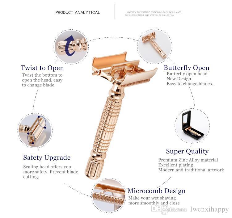 Twist Butterfly Open Classic Double Edge Blade Safety Shaving Razor Shaver Handle Holder +Blade +Mirror Case