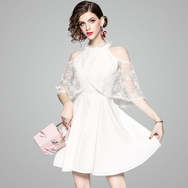 2018 Women White Halter Neck Prom Dress Lace Cover Up Sleeveless One ...