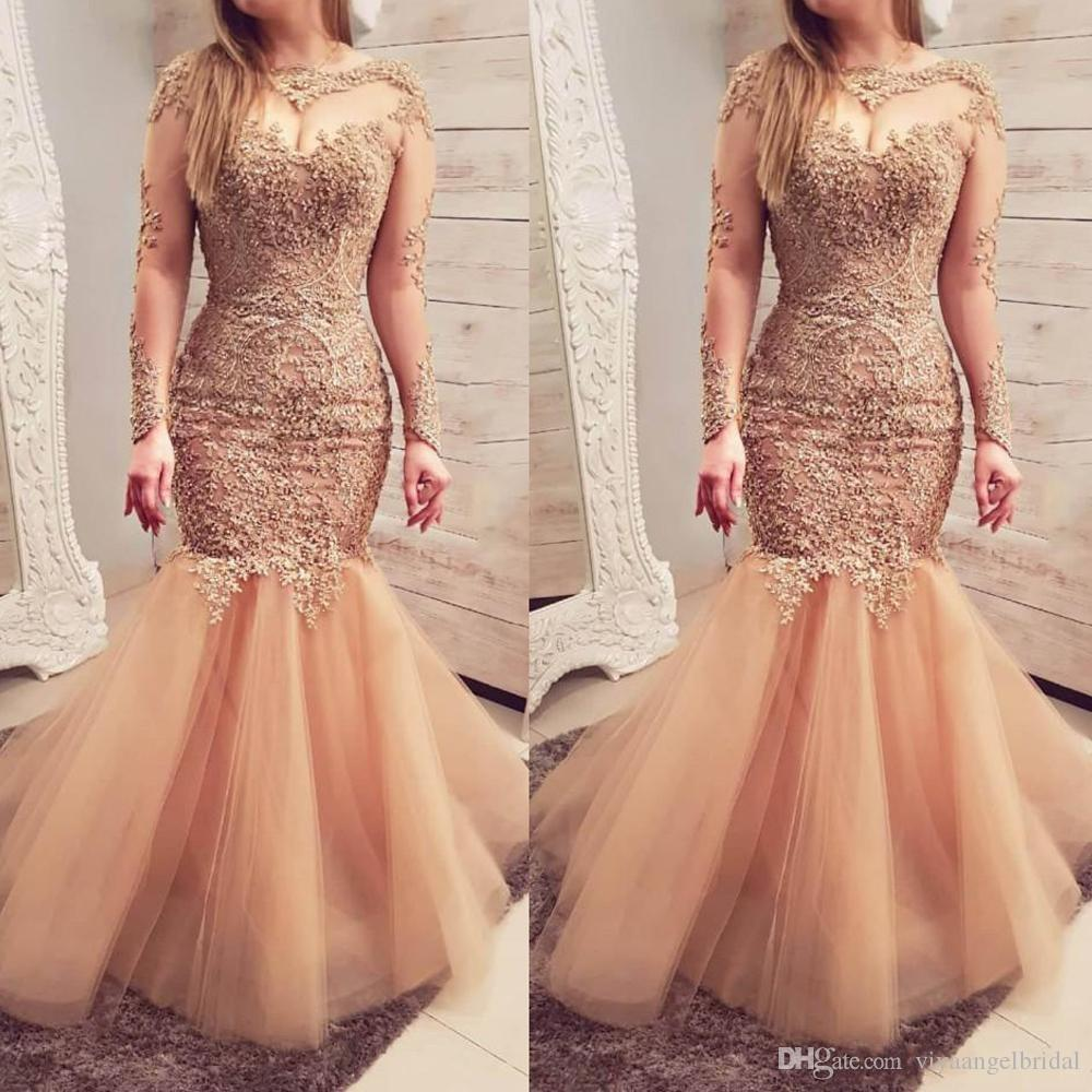 2019 Crystals Gold Mermaid Prom Gowns Sheer Neck Beaded Long Sleeves Lace  Applique Evening Wear Floor Length Tulle Arabic Formal Party Gowns Prom  Dresses ... 1fefacd80