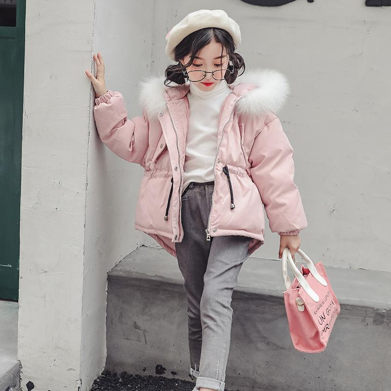 10583e65 2018 Girls Winter Coats Teenagers Fur Collar Hooded Cotton Padded Baby Girl  Clothes Down Jackets Parkas 4 5 6 7 8 9 10 11 12 13 Kids Trench Coats Coats  For ...