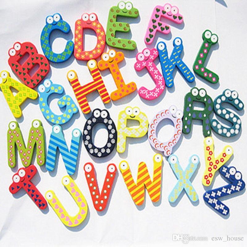 Çocuklar Bebek Ahşap Alfabe Mektubu Dolabı Mıknatıslar Ahşap Karikatür Dolabı Mıknatıslar Eğitim Öğrenme Çalışması Karikatür Oyuncak Unisex Hediye