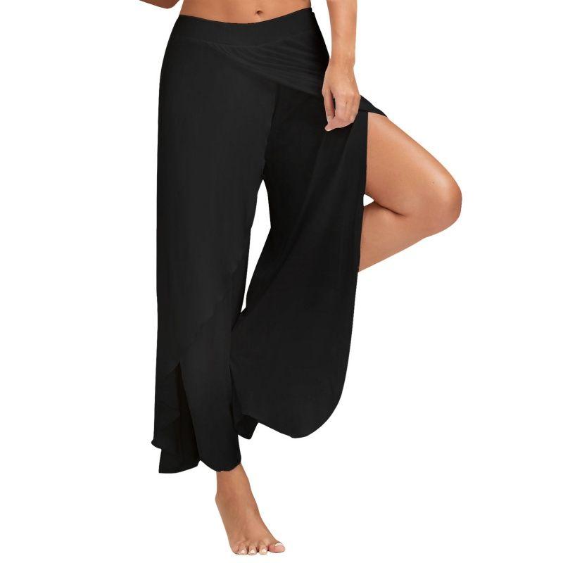 42bdac4e44c5f 2019 Plus Size Women Loose Wide Leg Yoga Pants Elastic Waist Comfortable  High Split Flowy Layered Fitness Pants Sports Stretch From Capsicum
