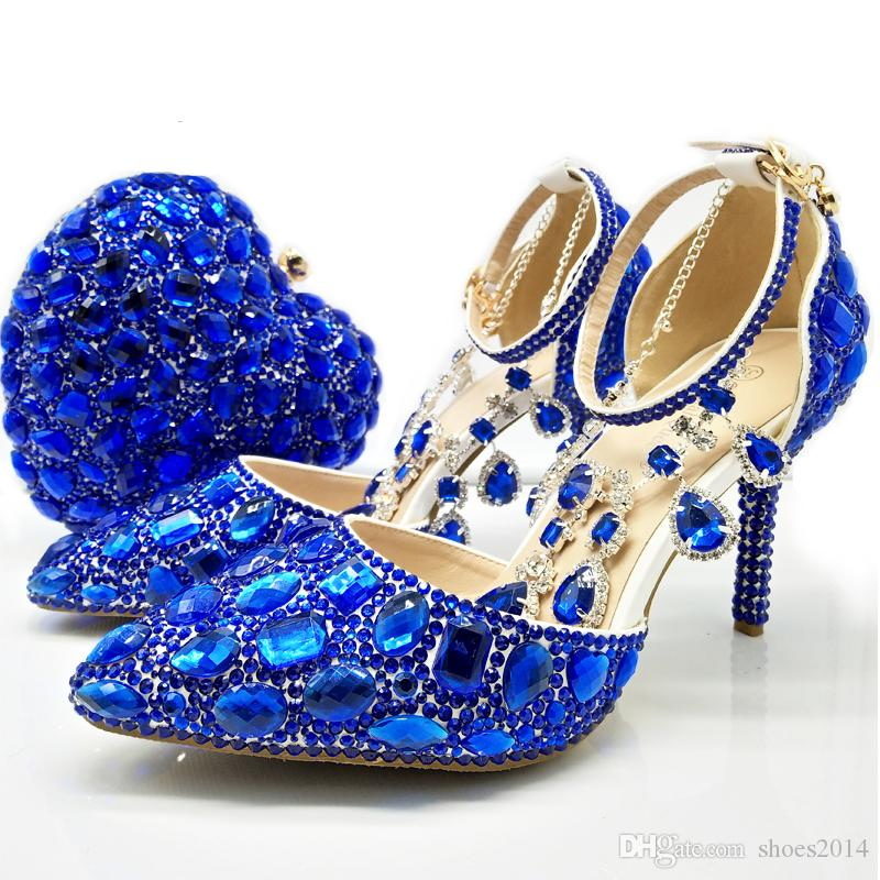 Royal Blue Women Crystal Bridal Dress Shoes With Handbag Heart Shape  Beautiful Crystal Ankle Straps Wedding Shoes Matching Purse Where To Get Wedding  Shoes ... 14003a88b034