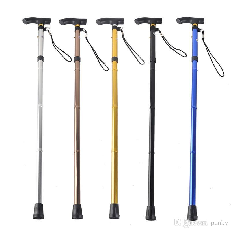 Outdoor 4-section Aluminum Alloy Adjustable Canes Camping Hiking Mountaineer Walking Sticks Trekking Pole