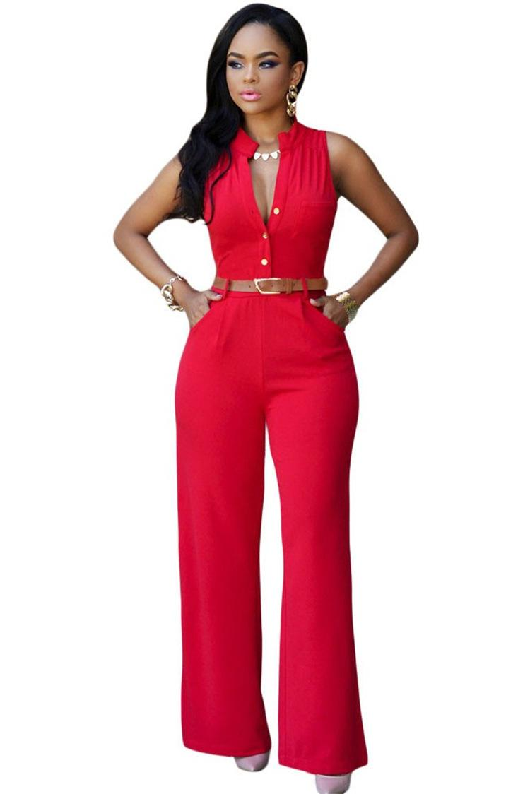 8558fc1058a 2019 DearLover Fashion Big Women Sleeveless Maxi Overalls Belted Wide Leg  Jumpsuit S 2XL Plus Size Macacao Long Pant From Yabsera