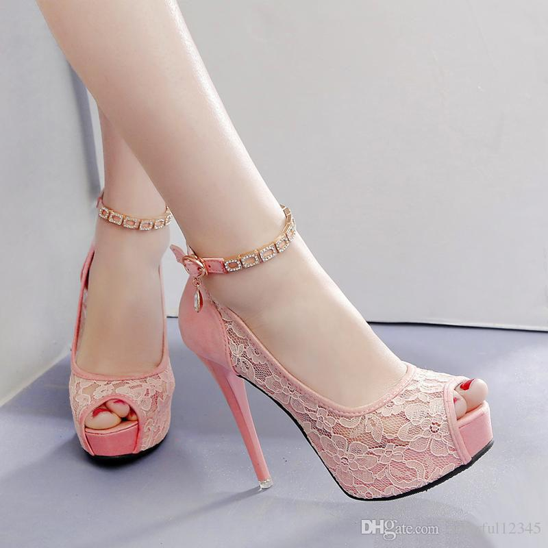 White Lace Wedding Shoes Women High Heel Pumps Ankle Strap Platform Peep Toe Shoes 2018 Size 34 To 39