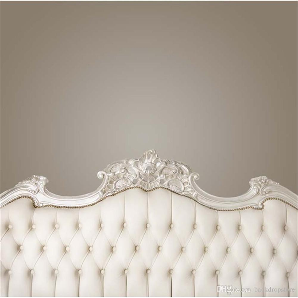 Grey Wall Baroque Bed Headboard Photography Backdrops Digital Printed Baby Newborn Photo Props Kids Children Studio Portrait Backgrounds