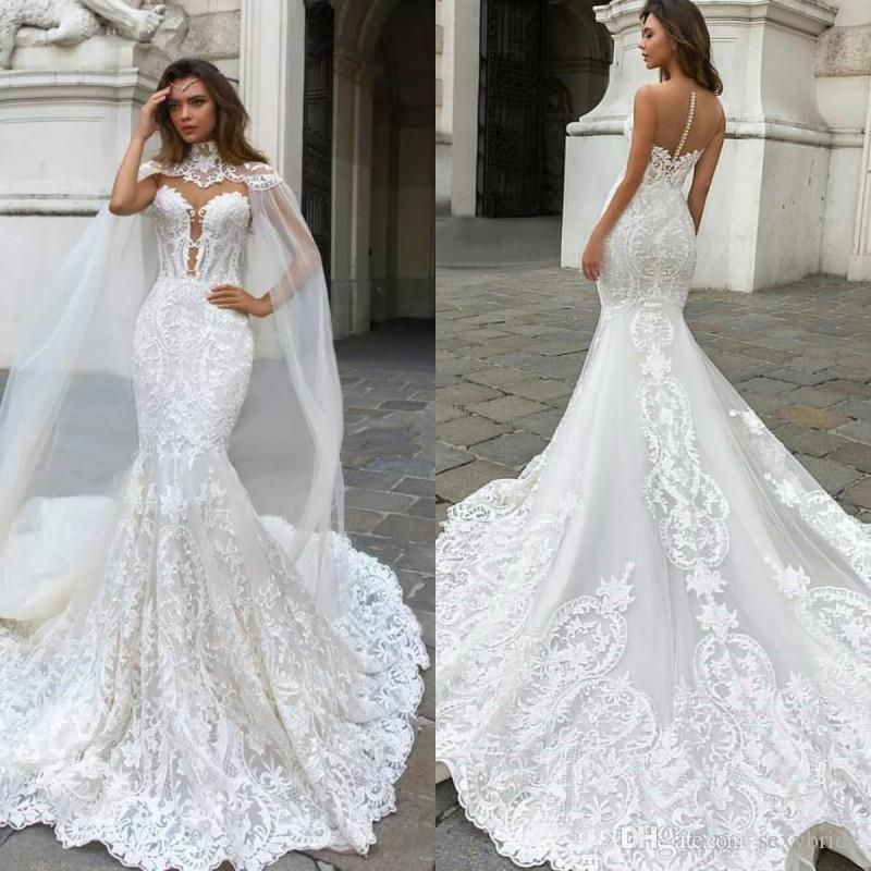 Luxury Lace Mermaid Wedding Dresses With Wrap Plunging Neck Bohemian Wedding Gown Appliqued Plus Size Bridal Vestidos De Nnovia 2018
