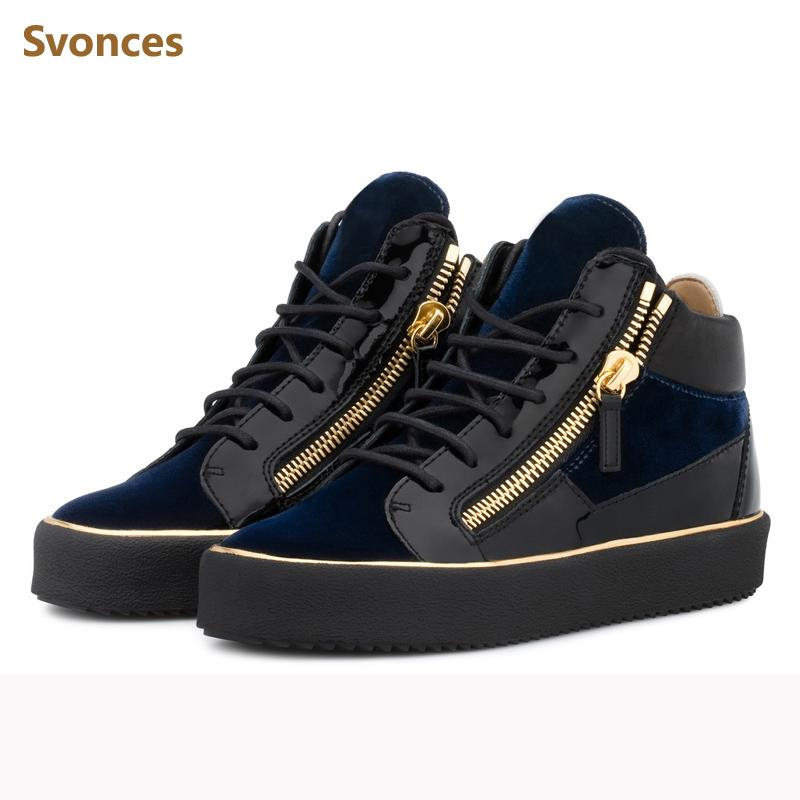 85b3104ece Fashion Flat Platform Casual Mens Sneakers Flock Lace Up Zipper Patchwork  Designer Shoes Man Comfortable Large Size Black Shoe Red Shoes Footwear  From Lusta ...