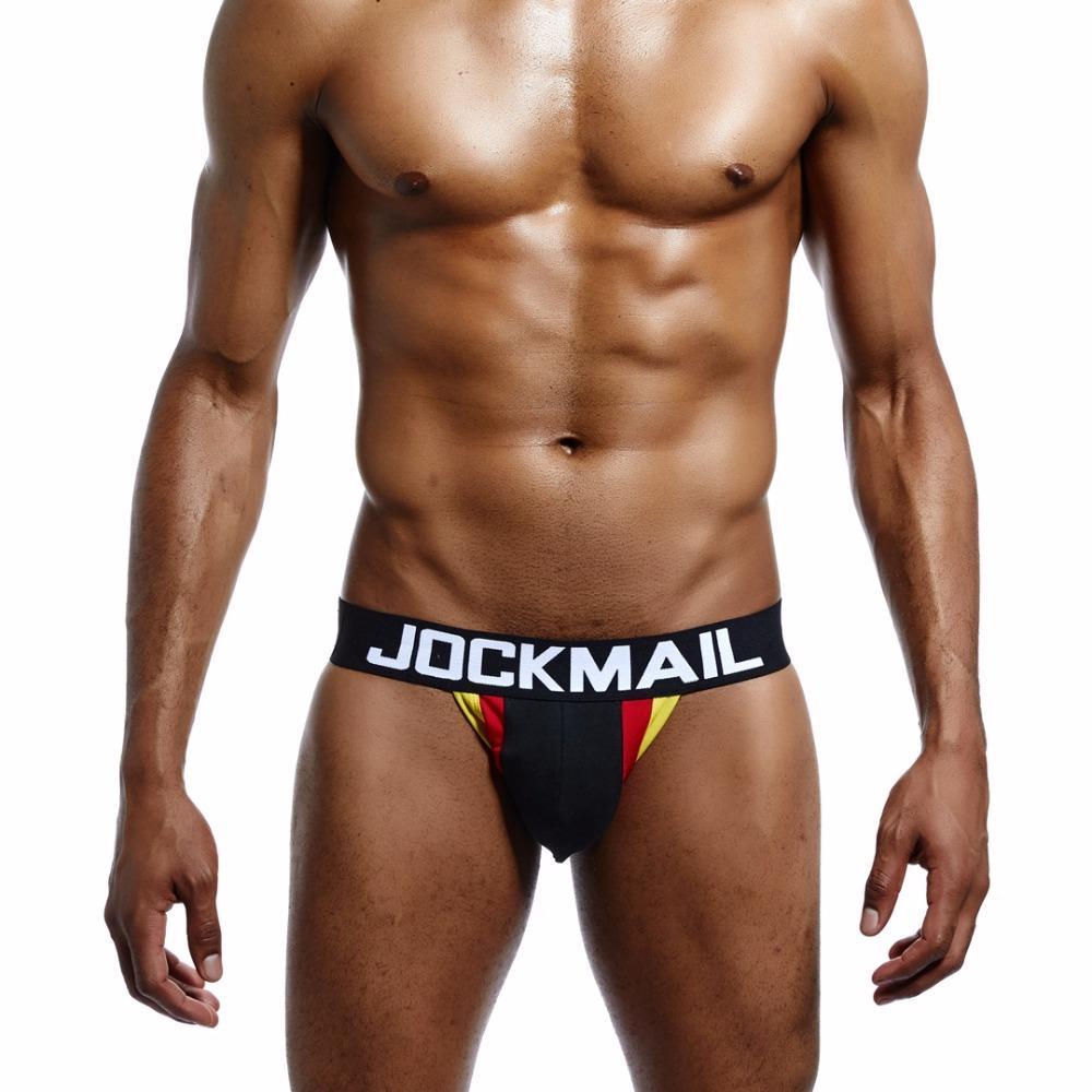 JOCKMAIL Men Cotton Underwear/G-Strings & Thongs Jockstrap Sexy Gay Exposed buttocks Hollow Jock Strap Crotch Convex Capsule