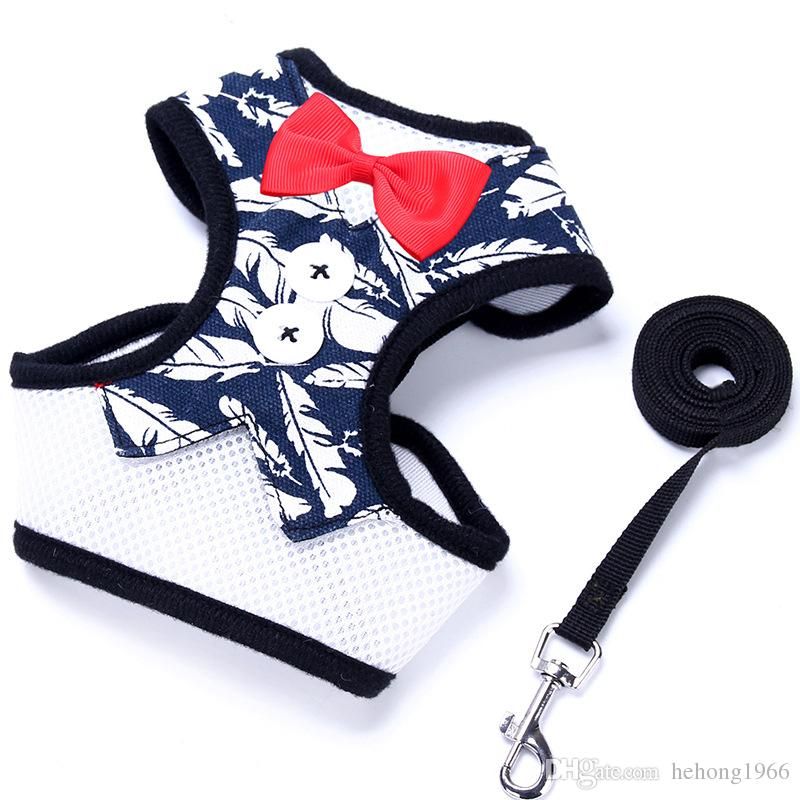 Fashion Adjustable Pet Harness Formal Bow Tie Vest Dog Leash Safety Breathable Clothes Traction Rope Top Quality 9 3fd KK