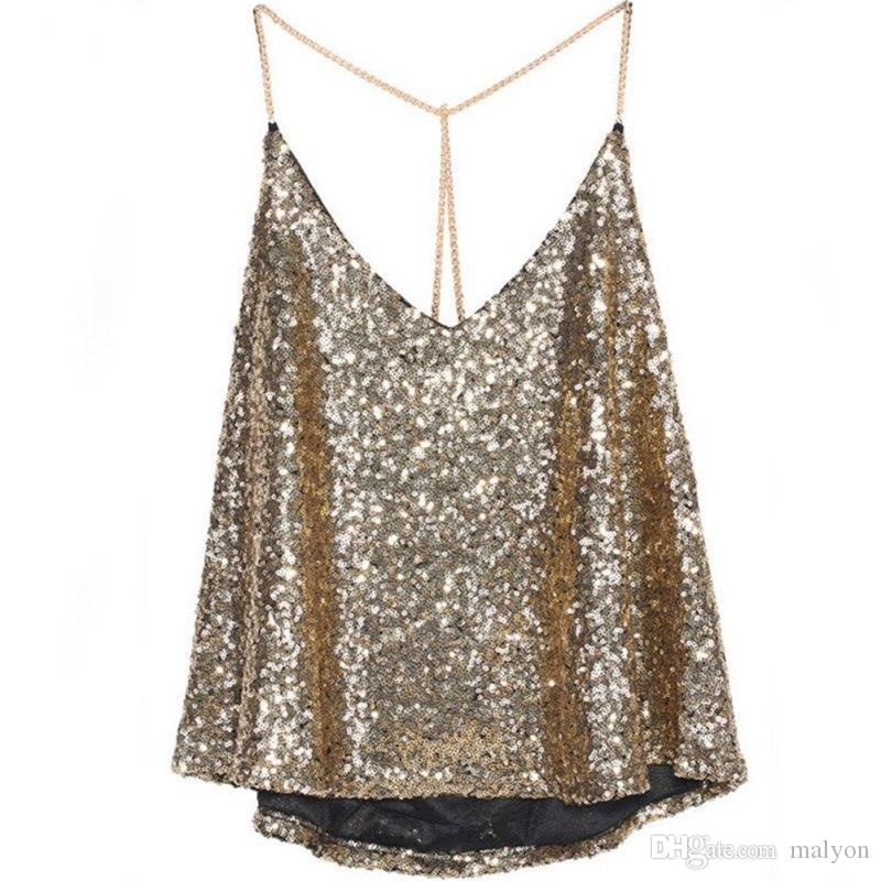 2a9a65ebe46e0f 2019 Wholesale Women Crop Top Spangle Sequin Sparkle Glitter Tank Top Vest  Shirt Camisole Gold Clubwear Tops From Malyon, $22.96 | DHgate.Com