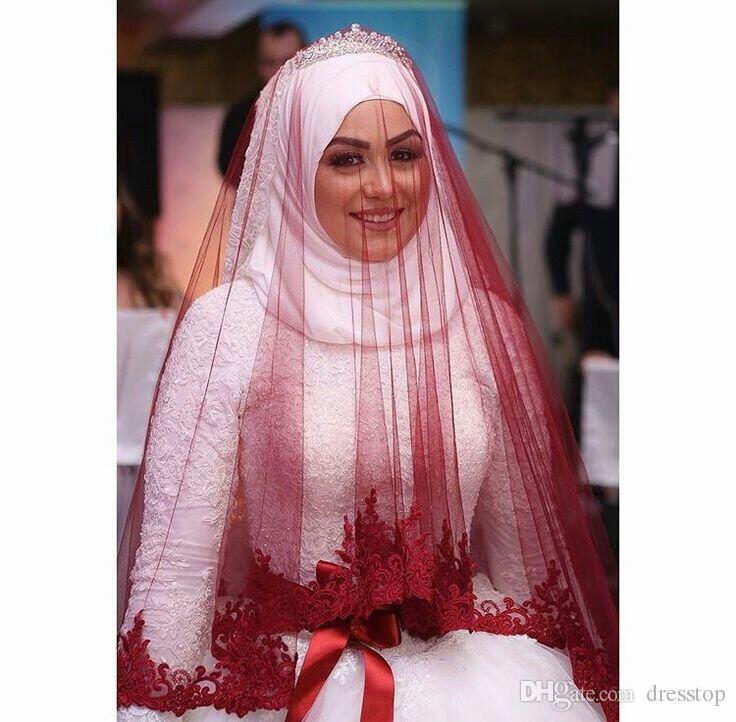 Nowa warstwa koronki krawędź muzułmańskie welony ślubne talii długość tulle saudyjska arabski welon ślubny darmowa wysyłka