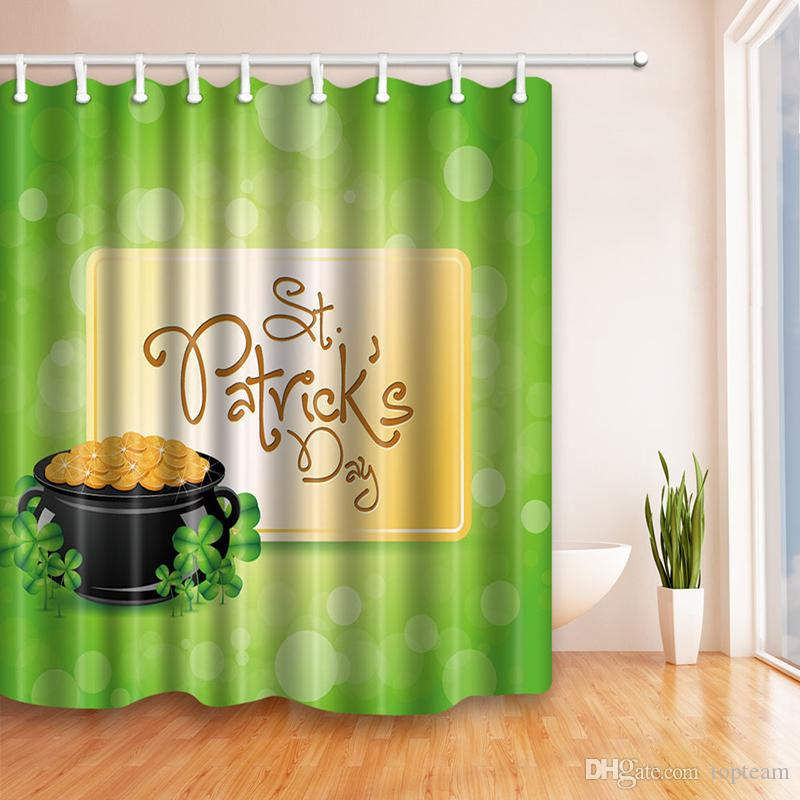 2018 St. Patrick\'S Day Shower Curtain Beautiful Shamrock Art Decor ...