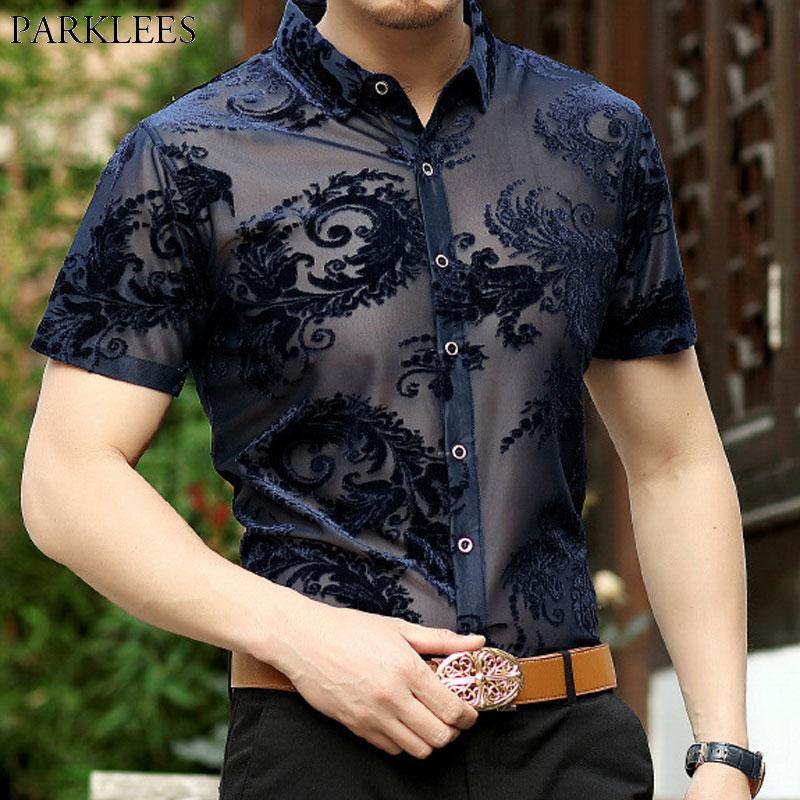 Acheter Paisley Floral Lace Shirt Hommes Club Party Prom Sexy Transparent  Male Social Shirt 2018 Marque Broderie Mens Dress Chemises Chemise De   34.82 Du ... 59d3f746dac