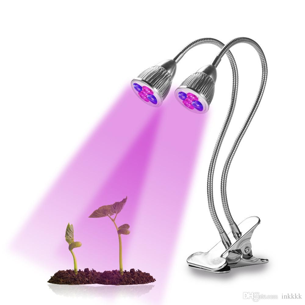 10W Dual Head UV & IR Plant Grow Light with Double Switch and 360 Degree  Flexible Gooseneck for Indoor Plants Seedling Growing Blooming
