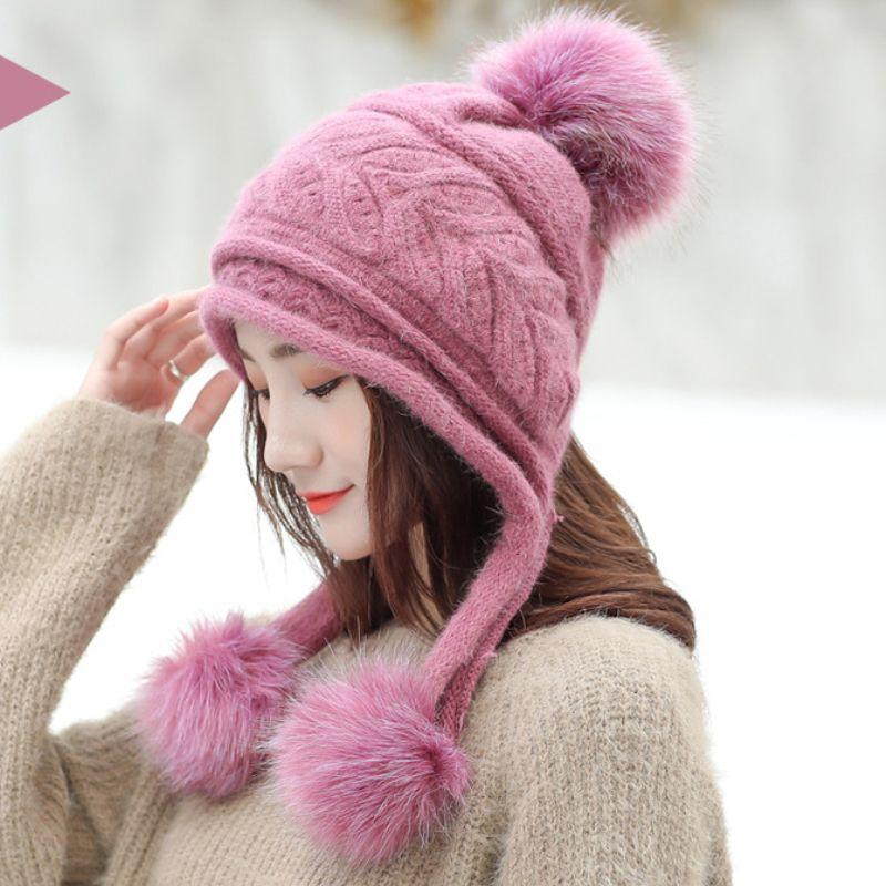 HT2121 Women Winter Earflap Hat Thick Warm Fleece Lined Knitted Hat Ladies  Pompoms Skullies Beanies Female Rabbit Fur Ski Beanie Trucker Caps Summer  Hats ... a60acfae333