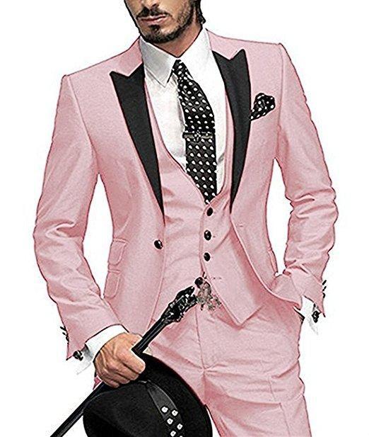 Compre Venta Caliente Un Botón Rosa Esmoquin Novios Pico Solapa Padrinos De  Boda Para Hombre De Negocios De La Boda Trajes De Fiesta Chaqueta +  Pantalones + ... f059fc809eaa