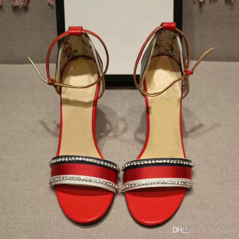 2018 New Summer Gladiator Sandálias Das Mulheres de alta qualidade de Couro fino sapatos de salto alto strass Runway estilo de cristal Sapatos Zapatos Mujer