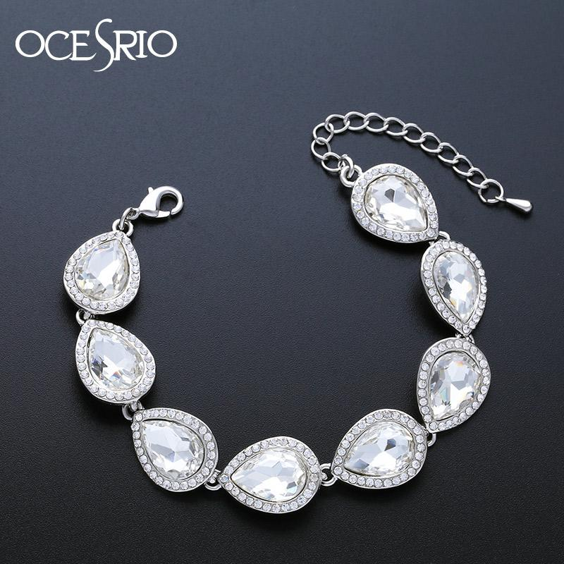 compre ocesrio pulsera de boda de cristal de plata para dama de