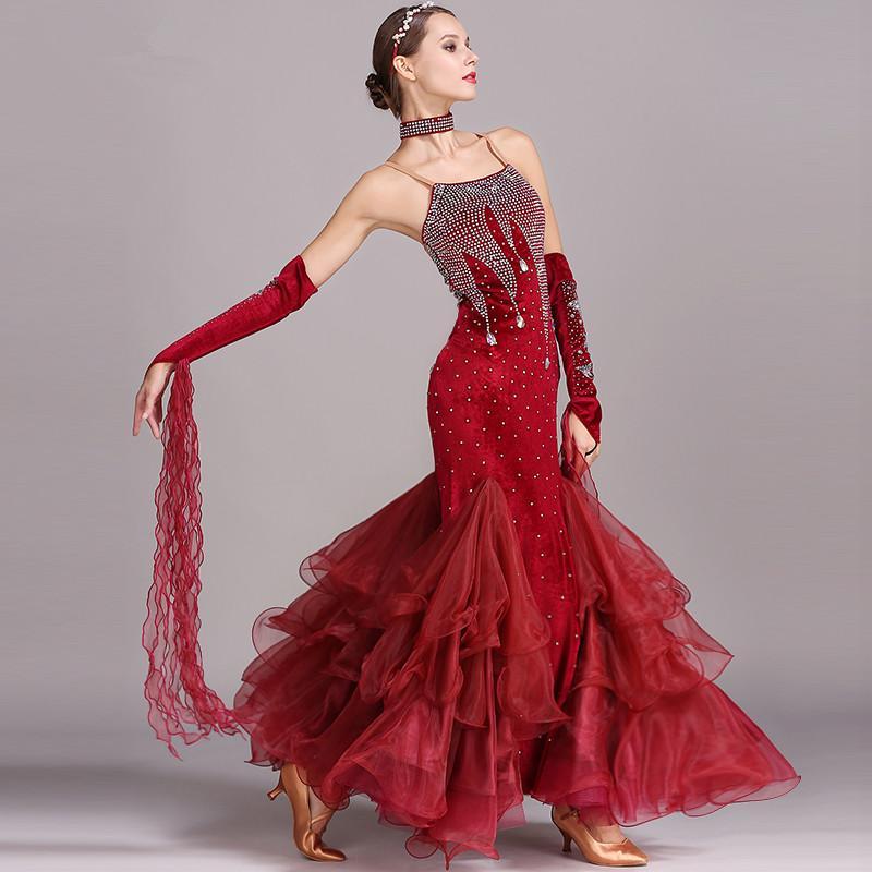 6d401af2d2 5 Colore Rosso nero blu verde Valzer Vestito da ballo moderno Concorso  standard da ballo liscio vestito da tango