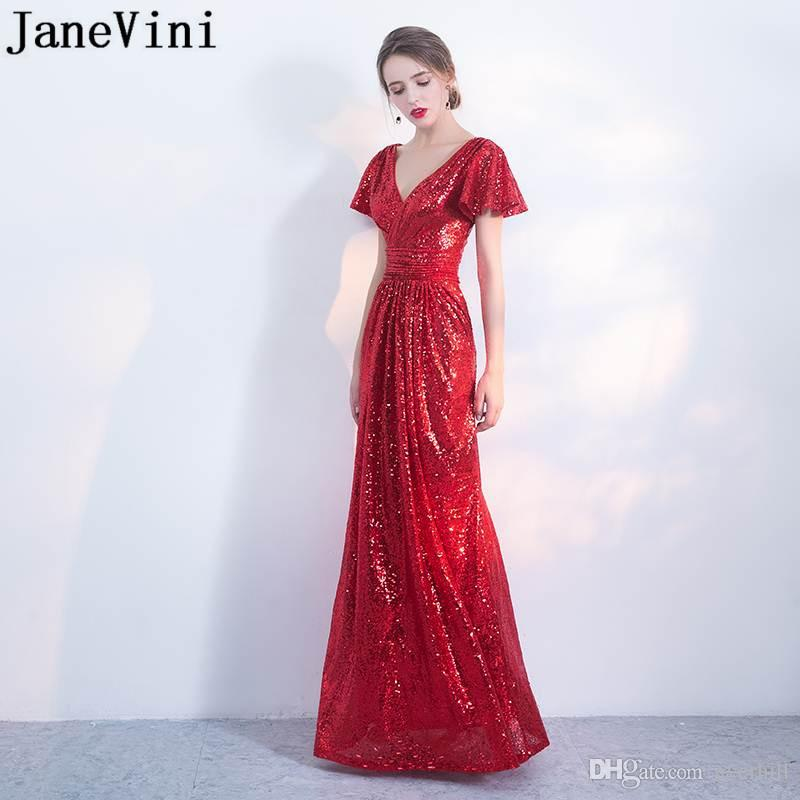 JaneVini Bling Red Elegant Long Dresses Prom Gowns Sequin Prom Dresses 2018  Lebanon V Neck Evening Dress Short Sleeve Party Wear Abendkleid Light Pink  Prom ... ea008468f12b