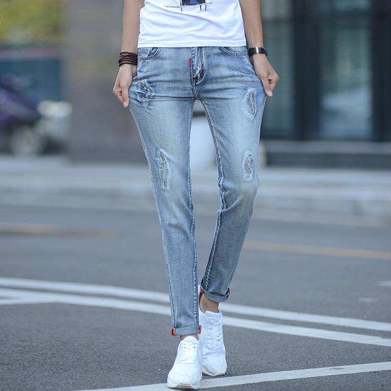 e9eeb7d99829 Herren Knöchellange Hosen 2018 Klassische Skinny Jeans Marke Slim Bleistift  Pantalon Homme Distressed Design Biker Hose Hiphop