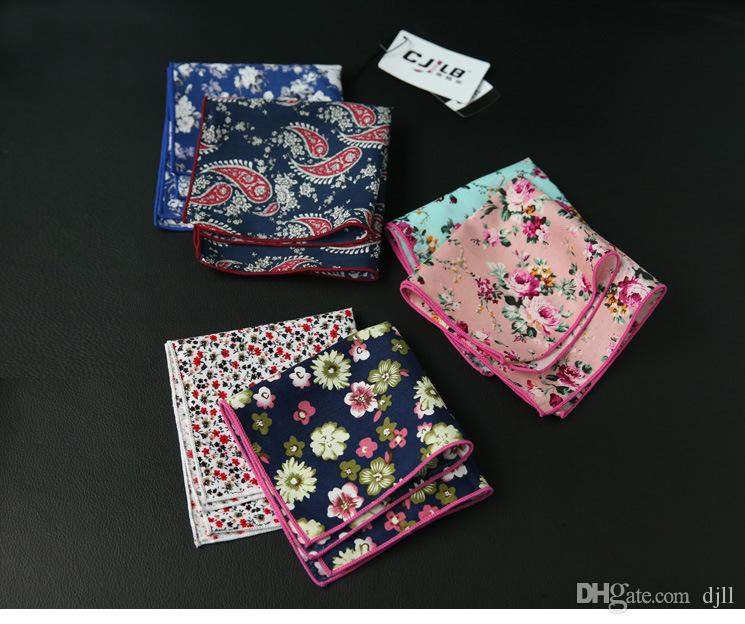 Flower Men's cravat scarf Handkerchiefs Cotton Pocket Square Hankies Men Business Square Pockets Hanky Handkerchief Fashion Ties Accessories