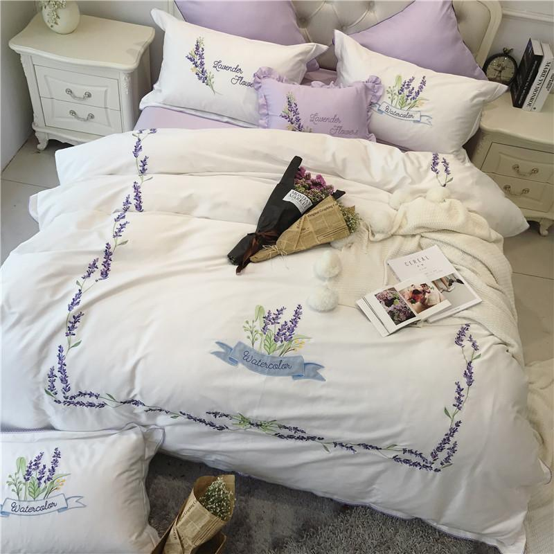 White Cotton Lavender Embroidered Noble Bedding Sets King Queen Size