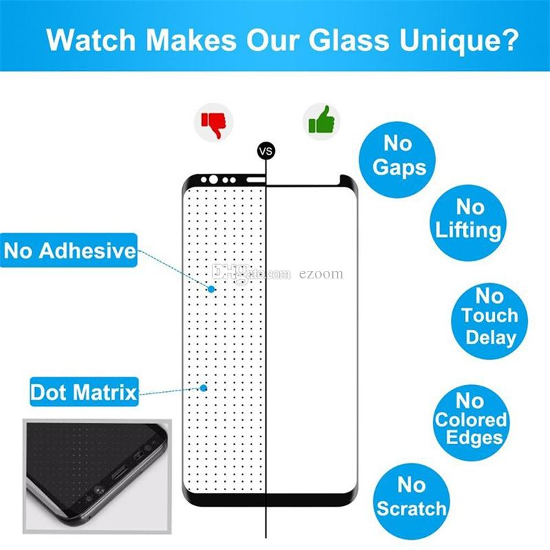 Full Adhesive Tempered Glass Full Glue Screen Protector Case Friendly 3D Curved HD Clarity Sensitive Touch for Samsung note 9 8 S9 plus S8