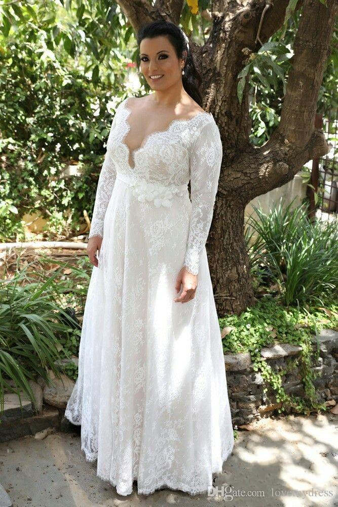 daf94118bf4 Discount Sexy Deep V Neck Country Wedding Dresses Plus Size With Long  Sleeves A Line Lace Bodice Applique Garden Designer Wedding Bridal Gowns  Cheap Knee ...