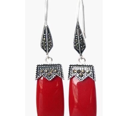 c84fc0c0b NICE VINTAGE RED CORAL 925 SILVER & MARCASITE EARRINGS 2 Earring Online  with $15.55/Piece on Dingyingying12366's Store | DHgate.com