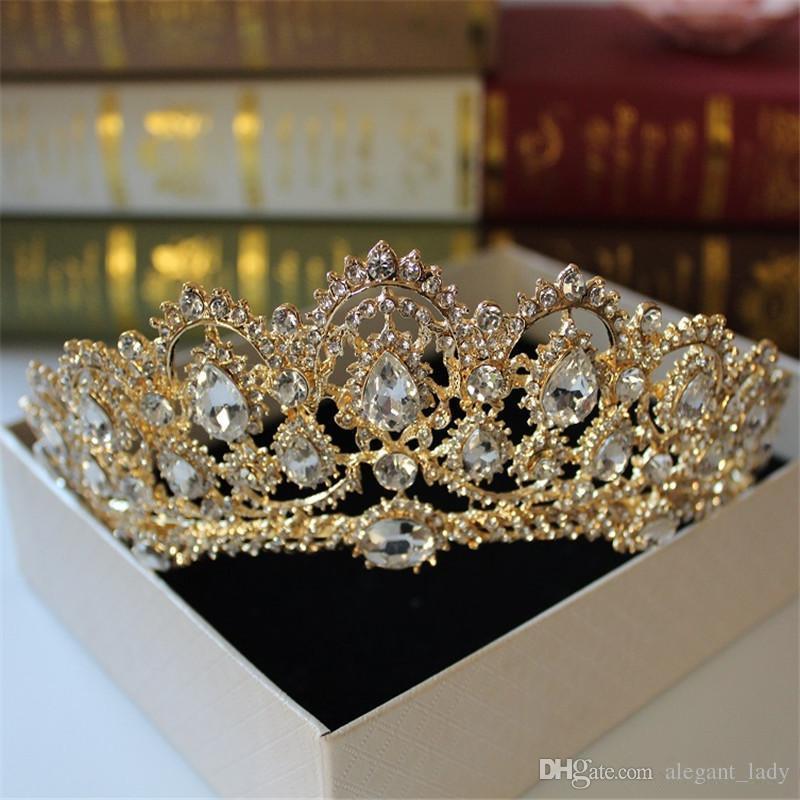 Corona di cristallo barocco 2018 greco dea arte retrò accessori capelli da sposa gioielli da sposa gioielli da sposa abito da sposa studio tiara corona stampaggio