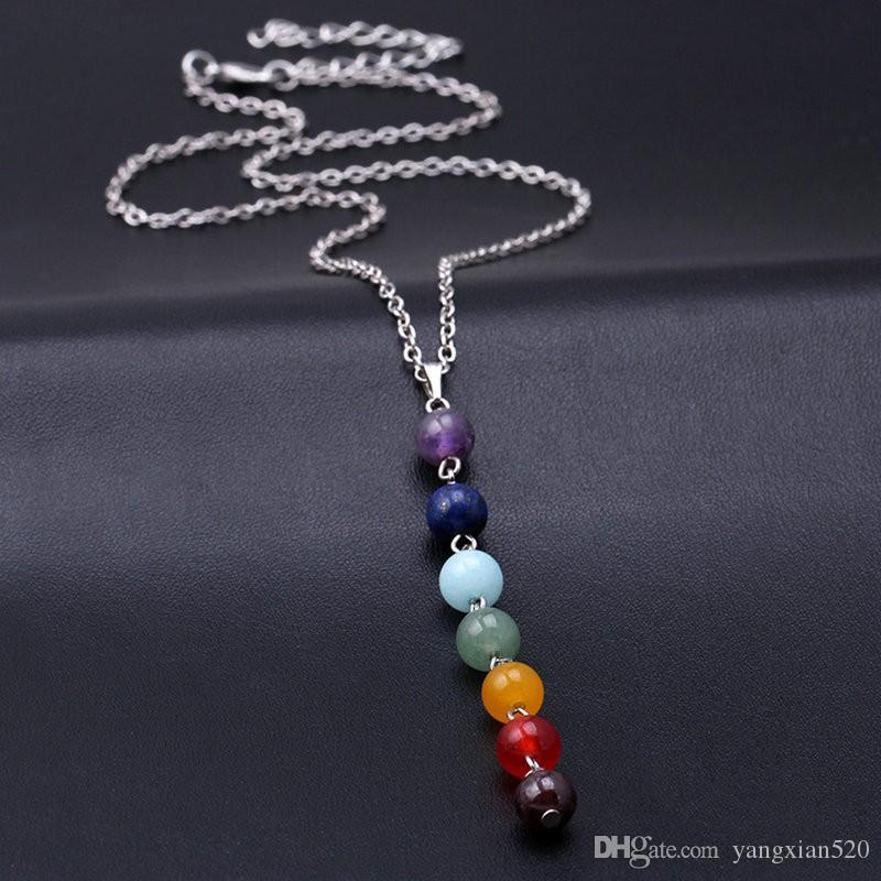 7 Chakra Edelstein Steinperlen Anhänger Halskette Frauen Yoga Reiki Heilung Balancieren Maxi Halsketten Charme Bijoux Femme Schmuck