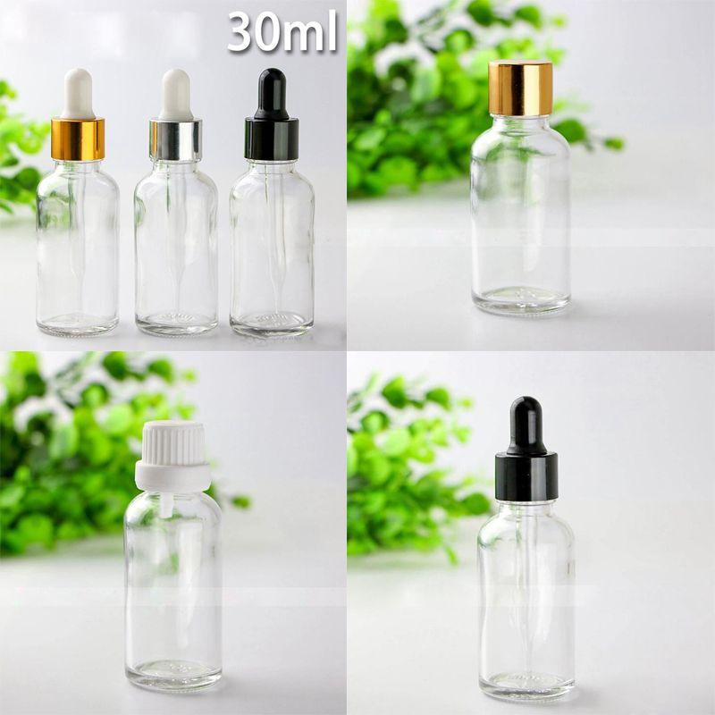 Wholesale 30ml Essential Oil Glass Bottles 1OZ Clear Glass Dropper Bottles With Gold Black Silver Caps For Eliquid E-juice