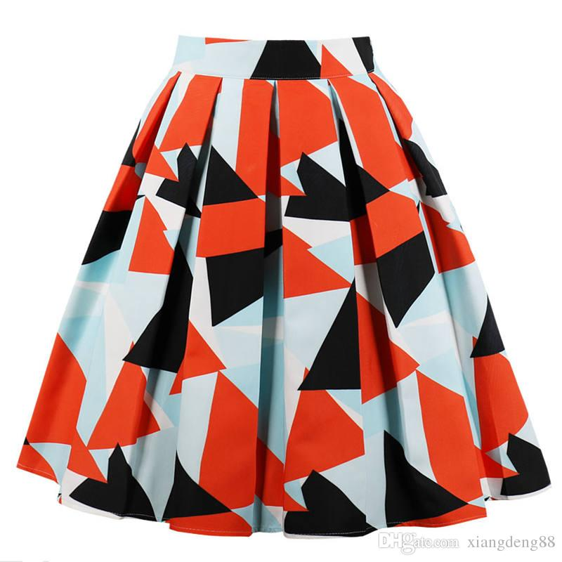 747ec62ad 2019 Geometric Patterns Summer Skirts Womens 2018 High Waist Pleated Skirt  Vintage A Line Casual Big Swing Women Midi Skirt Hot Sale From Xiangdeng88,  ...