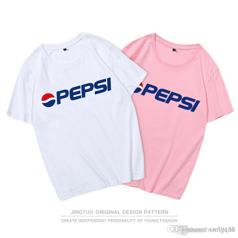 c074d0b5 Men And Women English Alphabet Pepsi Co Branded T Shirt Couple Cotton Short  Sleeves Fashion Loose Half Sleeve Hot New Style Wholesale T Shirt T Tee  Shirts ...