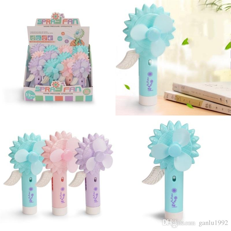 Sunflower Shape Fans Summer Hand Pressure Water Spray Fan Mini Small Office Humidification Children Kid Toy Portable Creative 4 6ts V