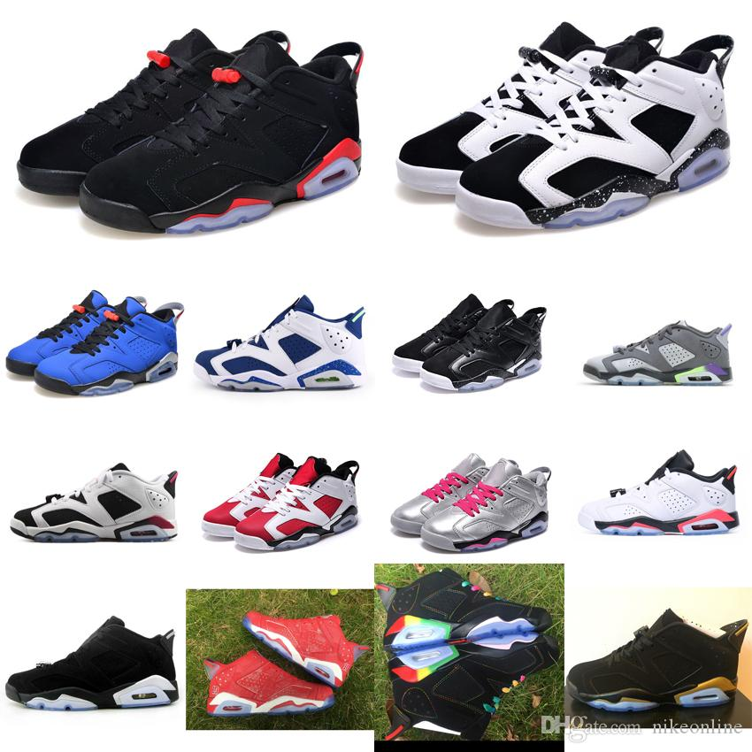 ede569f5a78ff8 2019 Mens Retro 6s Low Basketball Shoes J6 Oreo Black Infrared White Chrome  Gold French Blue Slam Dunk Rainbow Jumpman VI Aj6 Sneakers With Box From ...