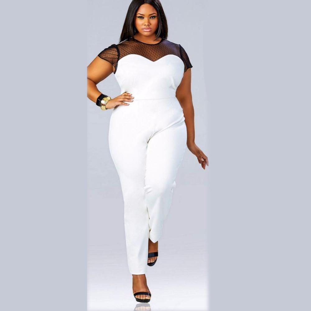 a674f40ca2 2019 Plus Size Brazil Rompers Womens Elegant Jumpsuit Long Combinaison  Femme Overalls Mesh Playsuit Solid Bodysuit Macacao Longo From Wangbin0629