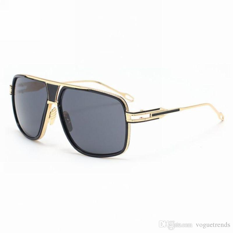 20a288c9d63 Celebrity Flat Top Square Pilot Sunglasses For Men Gold Tone Metal Black  Acetate Frame Vintage Oversized Glasses Eyewear Police Sunglasses Serengeti  ...
