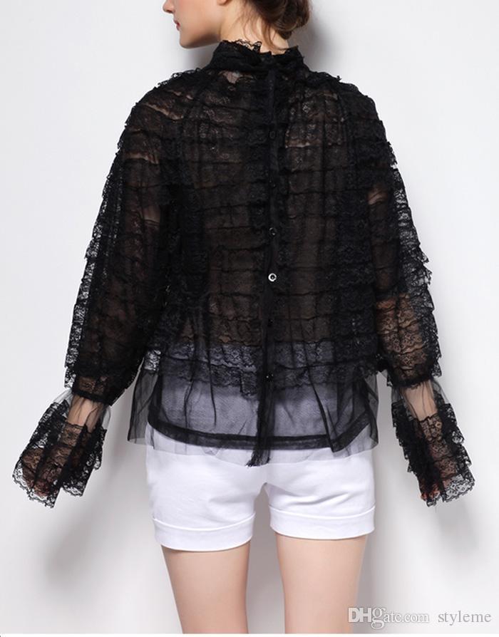 مصمم المرأة الأسود الرباط peplum بلوزة 2018 لربيع وصيف الأزياء الوقوف الياقة كم طويل البوق قمصان حزب كوكتيل مساء الرجعية