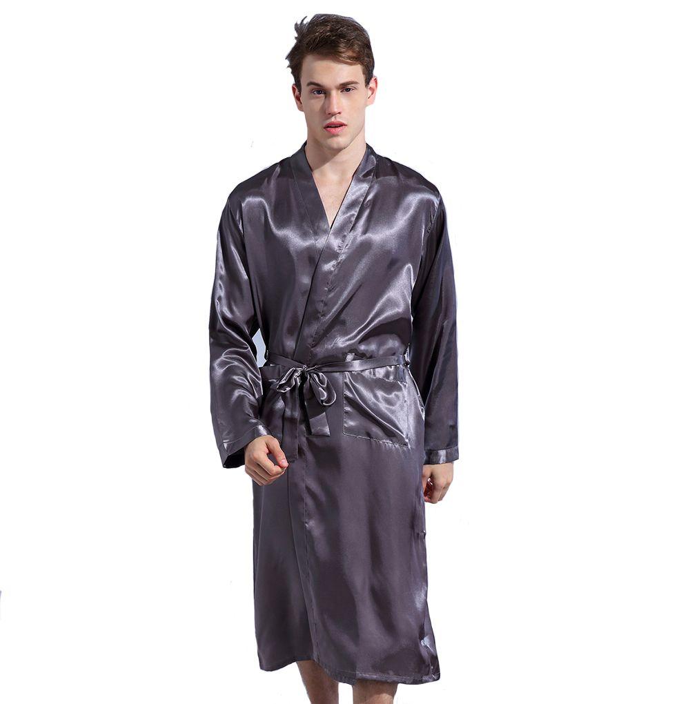 2019 Gray Loose Leisure Men S Rayon Satin Robe Gown Solid Color Kimono  Bathrobe Casual Nightwear Sleepwear Pajamas S M L XL XXL From Freea 46478e1fc