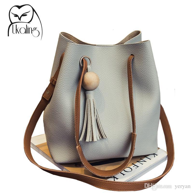 35e8e4cf49 Wholesale-UKQLING Women s Shoulder Bag PU Leather Women Handbags Bucket Bag  Ladies Hand Bags Casual Big Female Floral Tote Bag For Ipad Bag 15 Bag Ch  Bag ...
