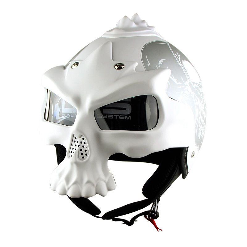 Motorcycle Helmets Dot >> Dot Skull Motorcycle Helmet Retro Half Face Helmets Motorbike