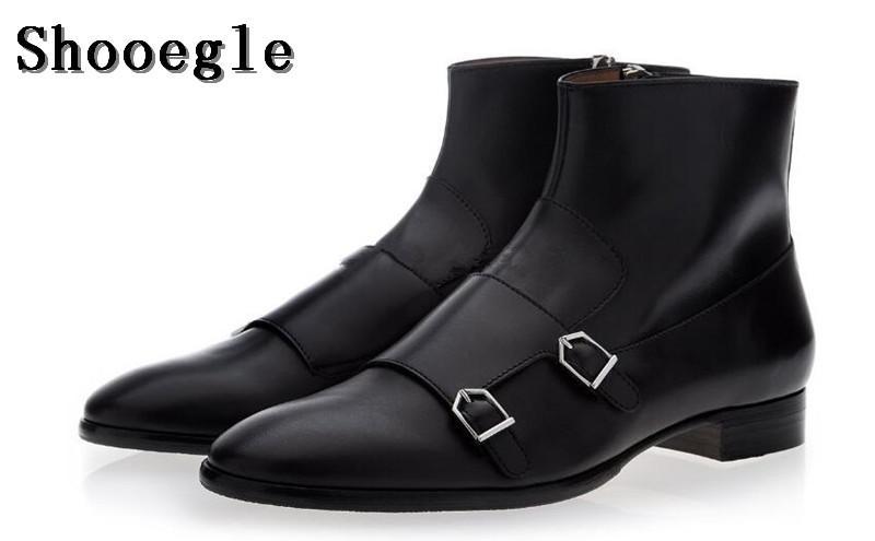 8d83d9cec71a2 SHOOEGLE New Men Black Brown Leather Ankle Boots Double Buckle Embellished  Flats Side Zipper Boots Men Monk Short Botas Ankle Boots For Women Mens  Leather ...